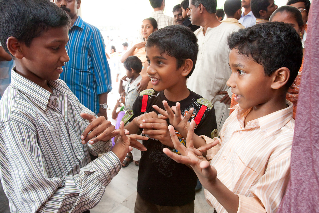 Deaf children signing in India