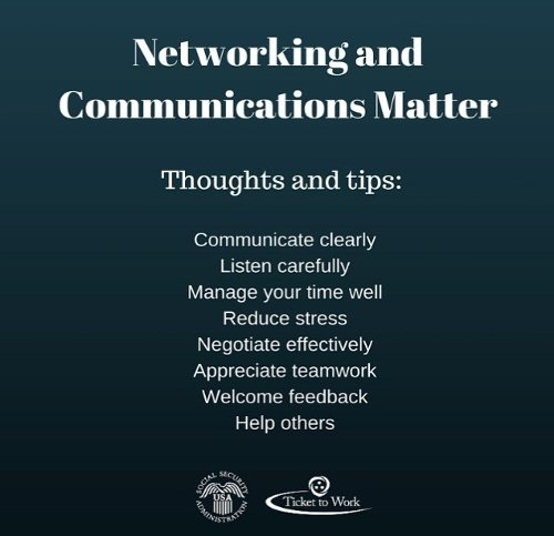 "Image reading ""Networking and Communications Matter"" along with a list of thoughts and tips"