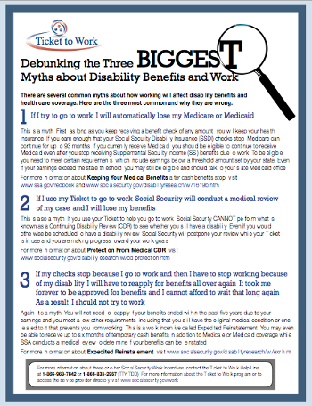 Ticket to Work Three Biggest Myths Factsheet