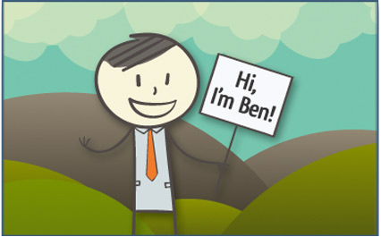 image of Ben with a sign: Hi, I'm Ben!