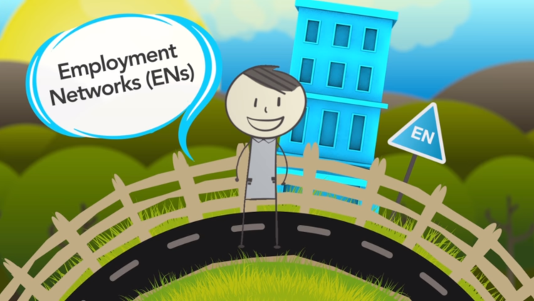 Animated still of Ben with a speech bubble that reads Employment Networks (ENs)
