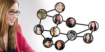 Image of a woman looking at a social web network diagram