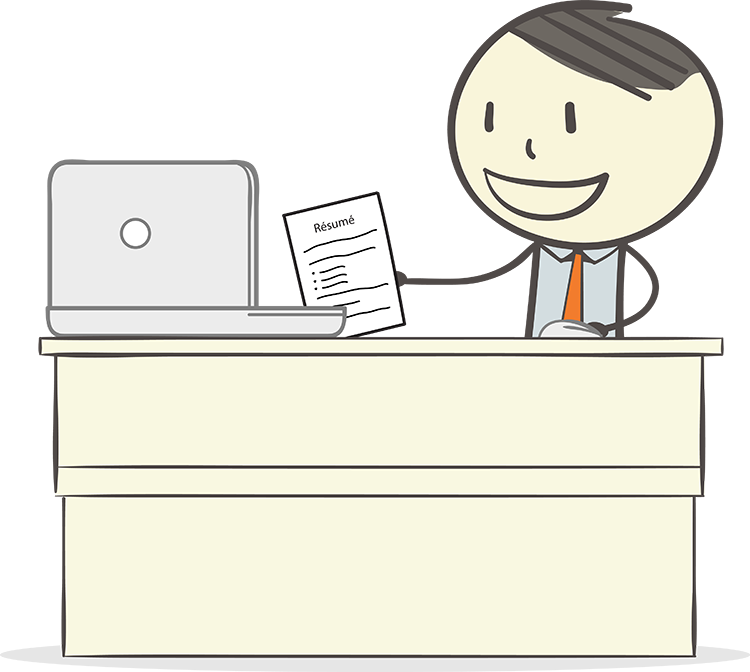 Graphic of Ben sitting at a desk and applying online