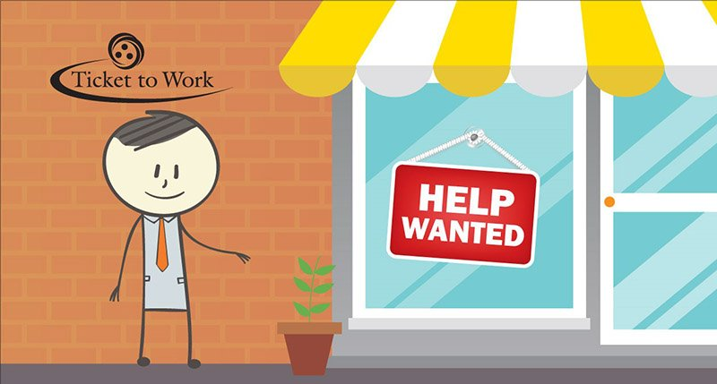 Graphic of Ben walking towards a store with a Help Wanted sign