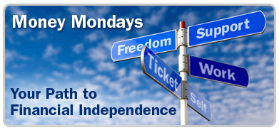 "Image of street pole with different street names such as Freedom, Support, Work and more, and with ""Money Mondays: Your Path to Financial Independence"" written on image."