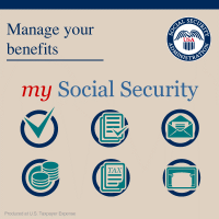 "Graphic reading ""Manage your benefits with my Social Security"" and several icons"