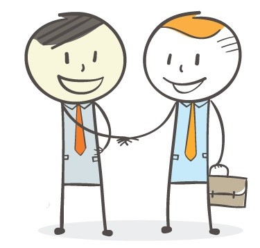 Graphic of two men in work suits shaking hands