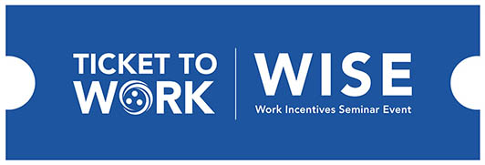 Graphic of the blue Ticket to Work WISE