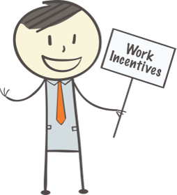 "Graphic of Ben holding a sign that reads ""Work Incentives"""
