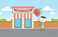 Graphic of Ben holding a balloon in front of a building with a banner reading Grand Opening