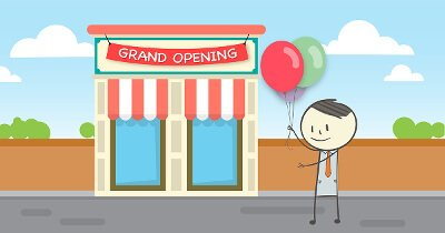 "Graphic of Ben holding balloons in front of a building with the sign ""Grand Opening"""