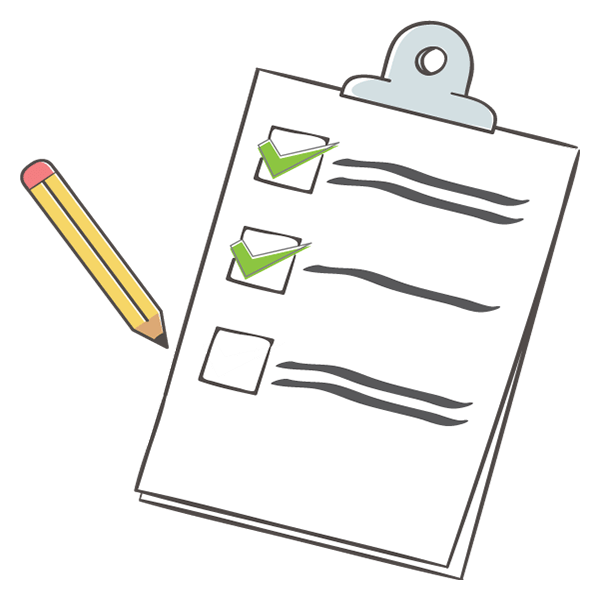Image of a list with checkmarks and a pencil
