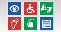 Compilation of 6 icons representing different disabilities