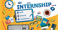 "A mishmash graphic of office supplies on a desk with ""skills internship"" written in large font"