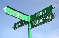 Street sign showing success, career, growth and development
