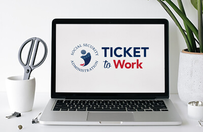 Laptop with Ticket to Work screen display