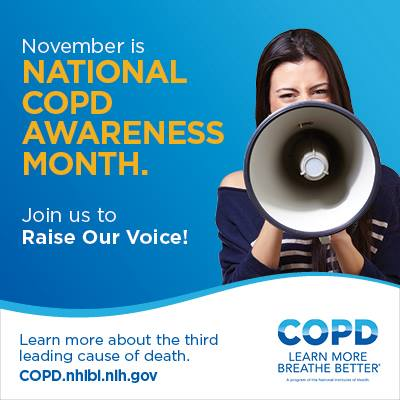 Woman holding a microphone to raise awareness of COPD