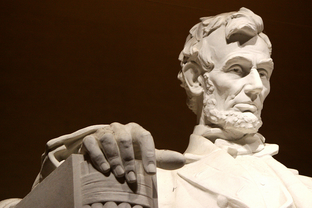 Image of Lincoln's face at the Lincoln Memorial