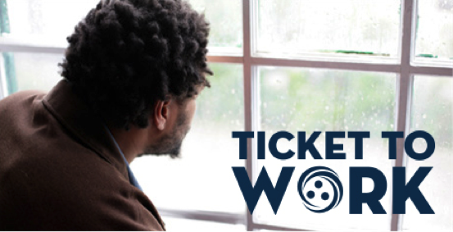 Person looking out window with Ticket to Work logo in bottom corner