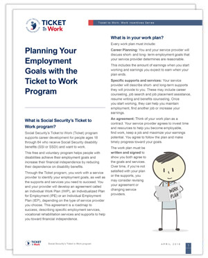 Thumbnail of the Planning Your Employment Goals with the Ticket to Work Program factsheet