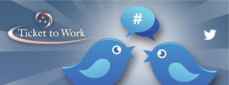 Image of two Twitter birds with Ticket to Work and Twitter logos