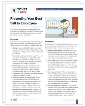 Thumbnail image of the tip sheet on Presenting Your Best Self to Employers