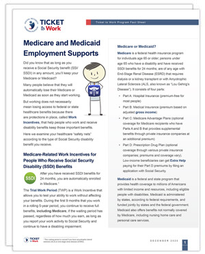 Thumbnail image of the Fact Sheet on Medicare and Medicaid Employment Supports