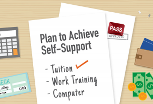 Document on desk that reads plan to achieve self-support with a checklist with items tuition, work training and computer