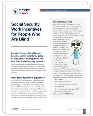Factsheet of Work Incentives for People who are Blind