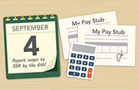 Graphic of a calculator, calendar and pay stub