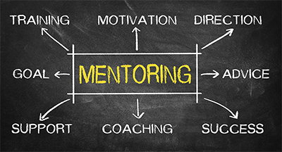 "Image showing the word ""Mentoring"" with a graphic underneath it. The graphic has four dots connected by arrows. Each dot has a word above it, starting with ""Coaching"" and going to ""Support"" to ""Advic"