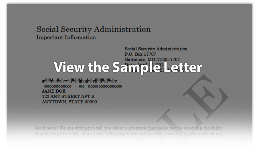 Sample of Ticket to Work letter