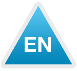 Image of a blue triangle with the letters E and N