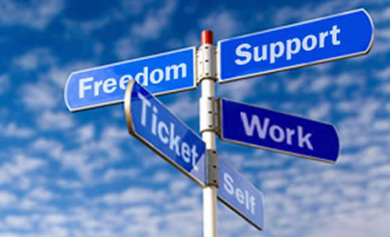 multi-directional sign with words 'freedom, support, ticket, work and self' all pointing in different directions