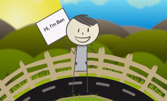 cartoon character, Ben, holding up sign that says 'hi, I'm Ben!'