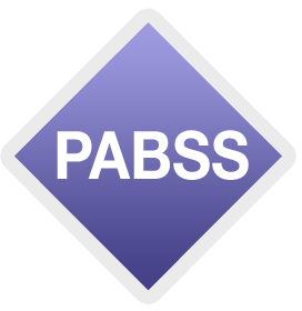 "Purple diamond with ""PABSS"" letters written in the middle"