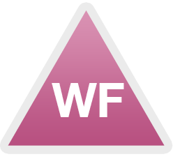 "Pink Triangle with Initials ""WF"" in the middle"